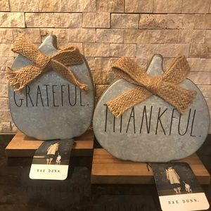 Rae Dunn GRATEFUL & THANKFUL Fall Pumpkin Decor